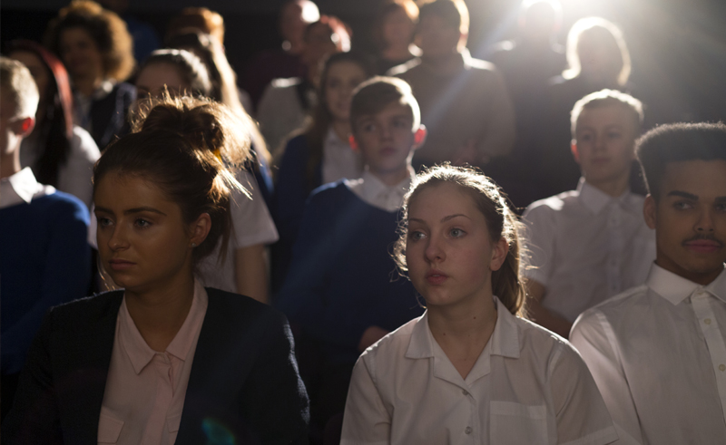 students in hall