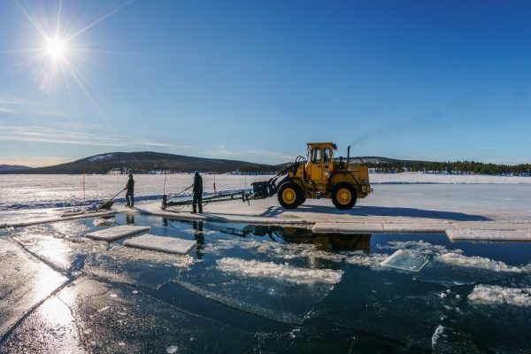 swedish lapland jukkasjarvi icehotel harvesting ice blocks rth