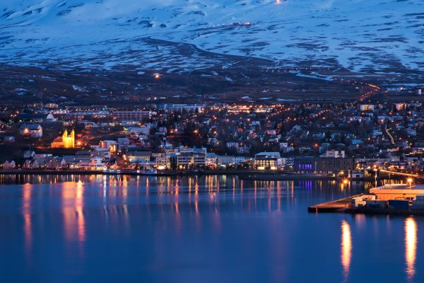 iceland north akureyri winter evening view istk