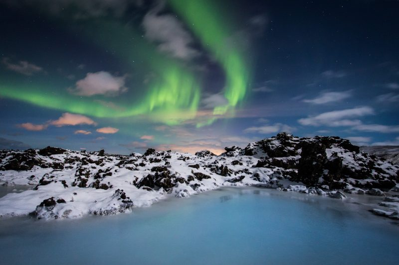 iceland south west blue lagoon with aurora bl gol