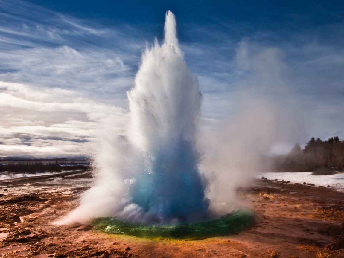 iceland south west strokkur at geysir winter view istk