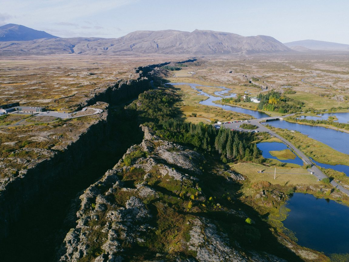 iceland south west thingvellir rift aerial view istk