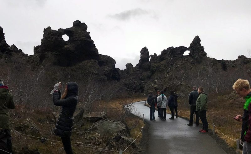north iceland students at dimmuborgir