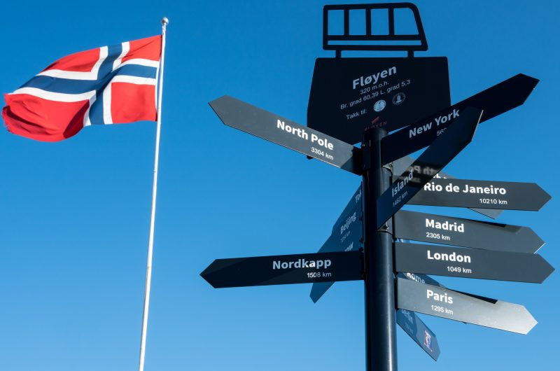 norway bergen signpost on mt floyen istk