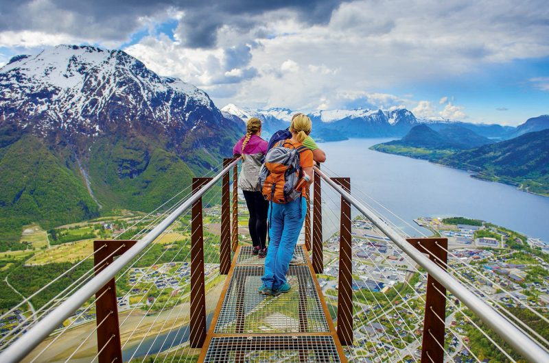 norway fjords on viewpoint on rampestreken overlooking andelsnes vnwnor mb