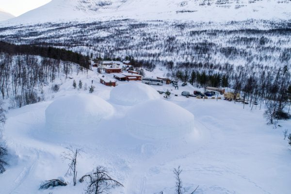 norway northern tromso ice domes exterior aerial view dtroms
