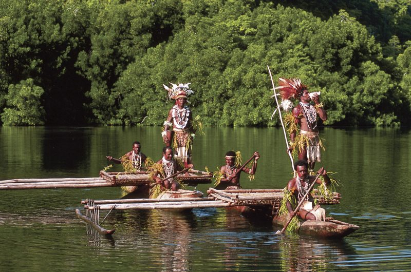 papua new guinea tribal welcome on outrigger canoes tufi png tb