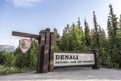 alaska denali national park entrance sign