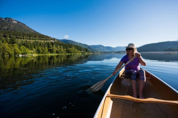canada alberta canoeing on alta lake near whistler istk