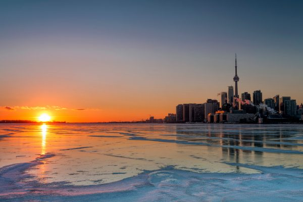 canada ontario toronto winter sunset istk