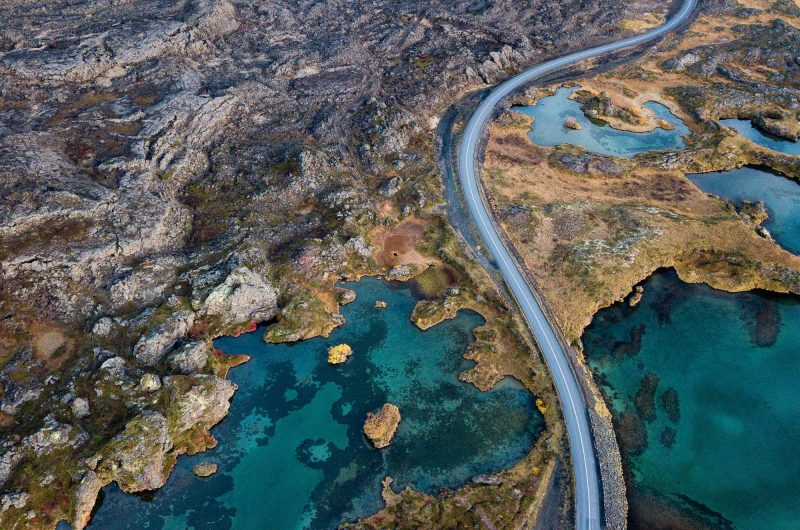 iceland north east myvatn road drone view istk 1