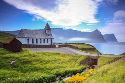 faroe islands bordoy vidareidi church view to muli istk
