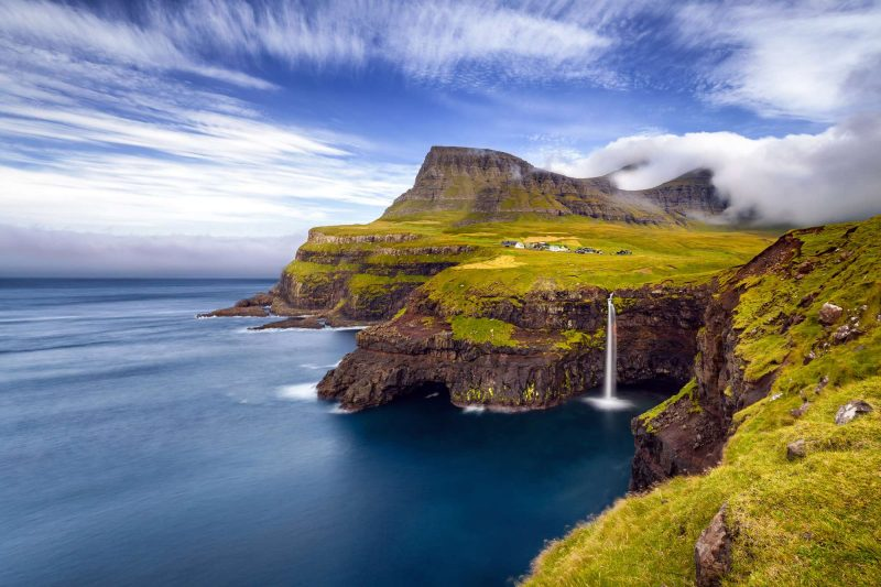 faroe islands mulafossur gasadalur village istk