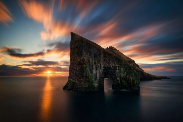 faroe islands vagar drangarnir rock sunset adstk