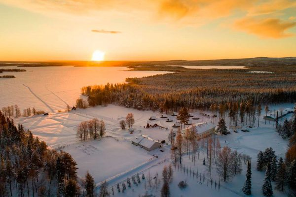 finnish lapland apukka resort aerial sunset