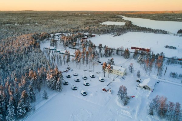 finnish lapland apukka resort aerial view