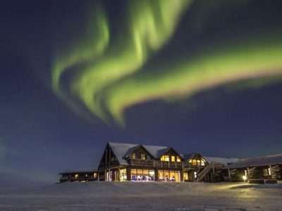 iceland hotel ranga snow and northern lights