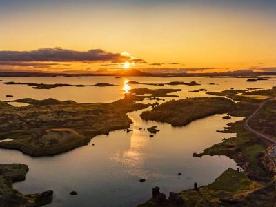 iceland north east lake myvatn midnight sun rth