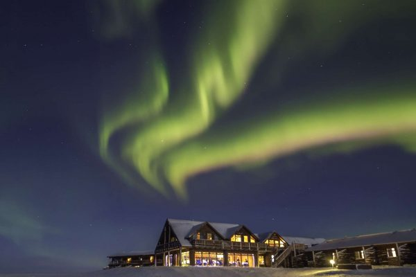 northern lights over hotel ranga in south west iceland