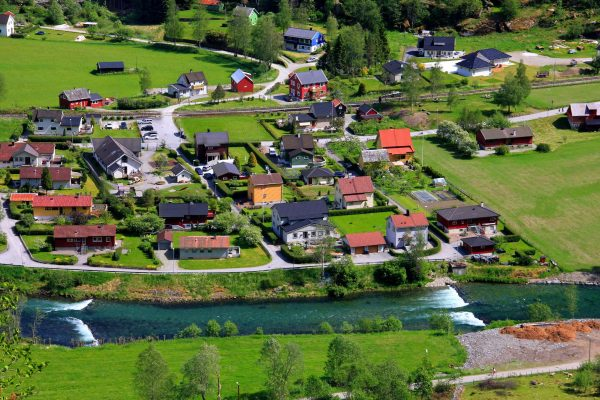 norway fjords flam village aerial do