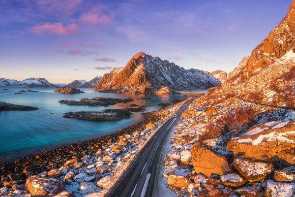 norway lofoten winter road istk m
