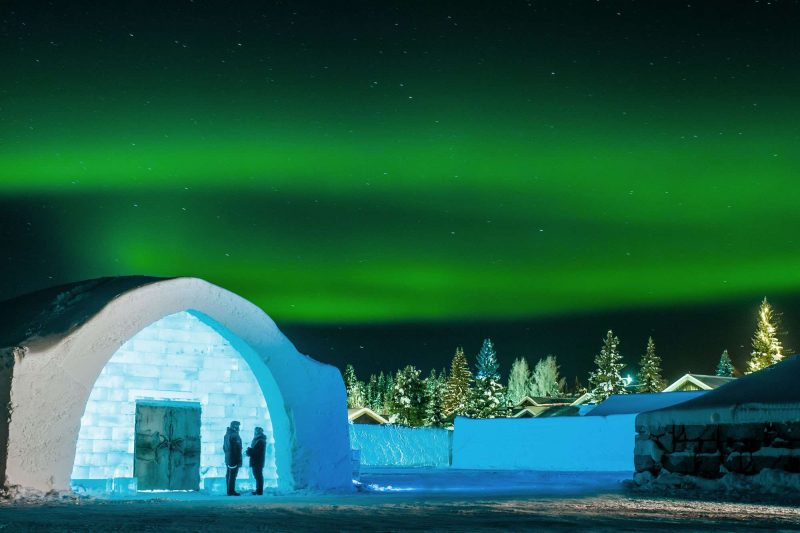 swedish lapland icehotel27 northern lgihts over entrance