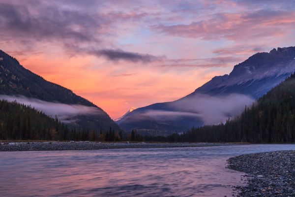 canada british columbia sunset and mist over river istk