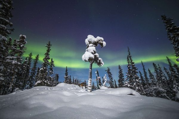 canada northwest territories blachford lake lodge surrounded by deep snow