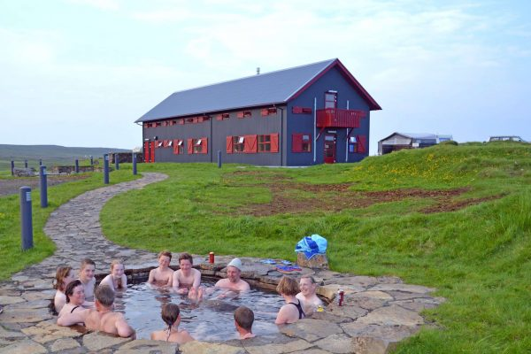 iceland east laugarfell group in hot pool