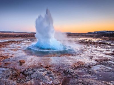 iceland south west strokkur geysir eruption sunset istk