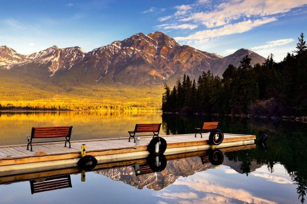 canada alberta pyramid lake with benches istk