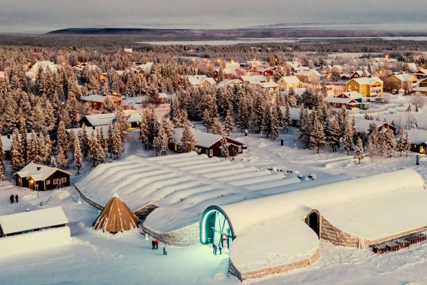 swedish lapland jukkasjarvi village and icehotel aerial ak