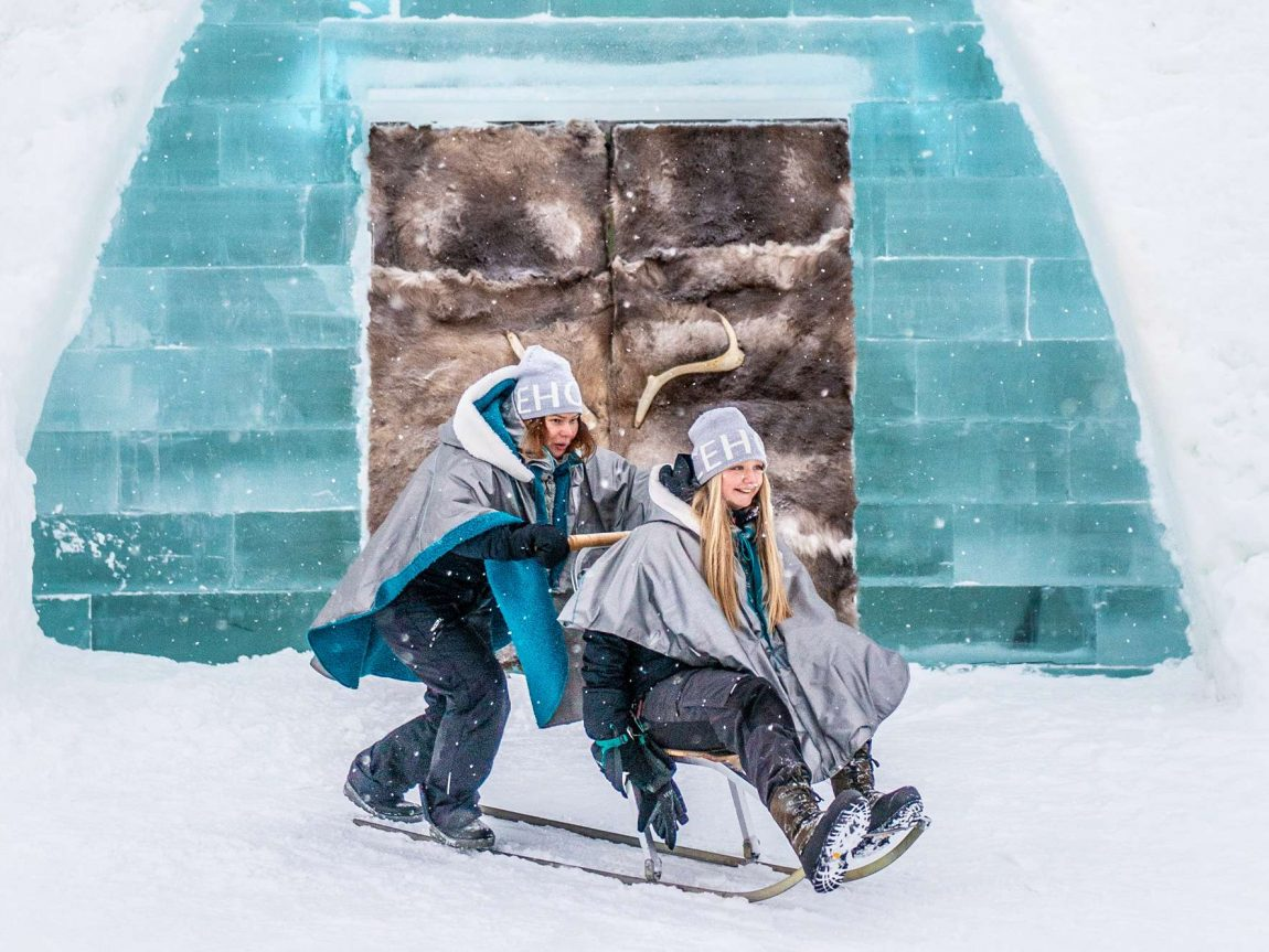 swedish lapland kicksled fun icehotel entrance ak