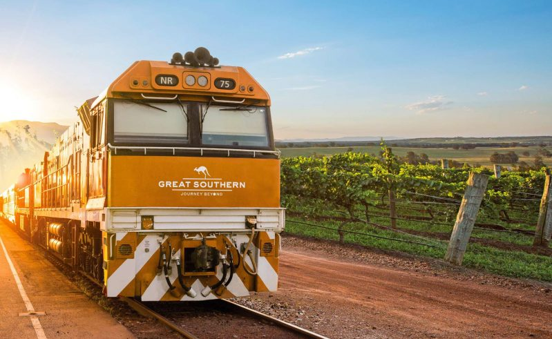 australia great southern rail train passing vineyards artist impression