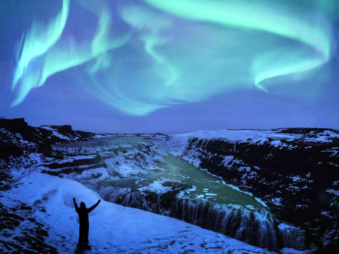 iceland south west gullfoss northern lights over gullfoss waterfall istk