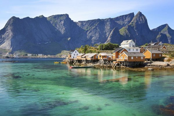 norway lofoten rorbuer stilted houses summer sup