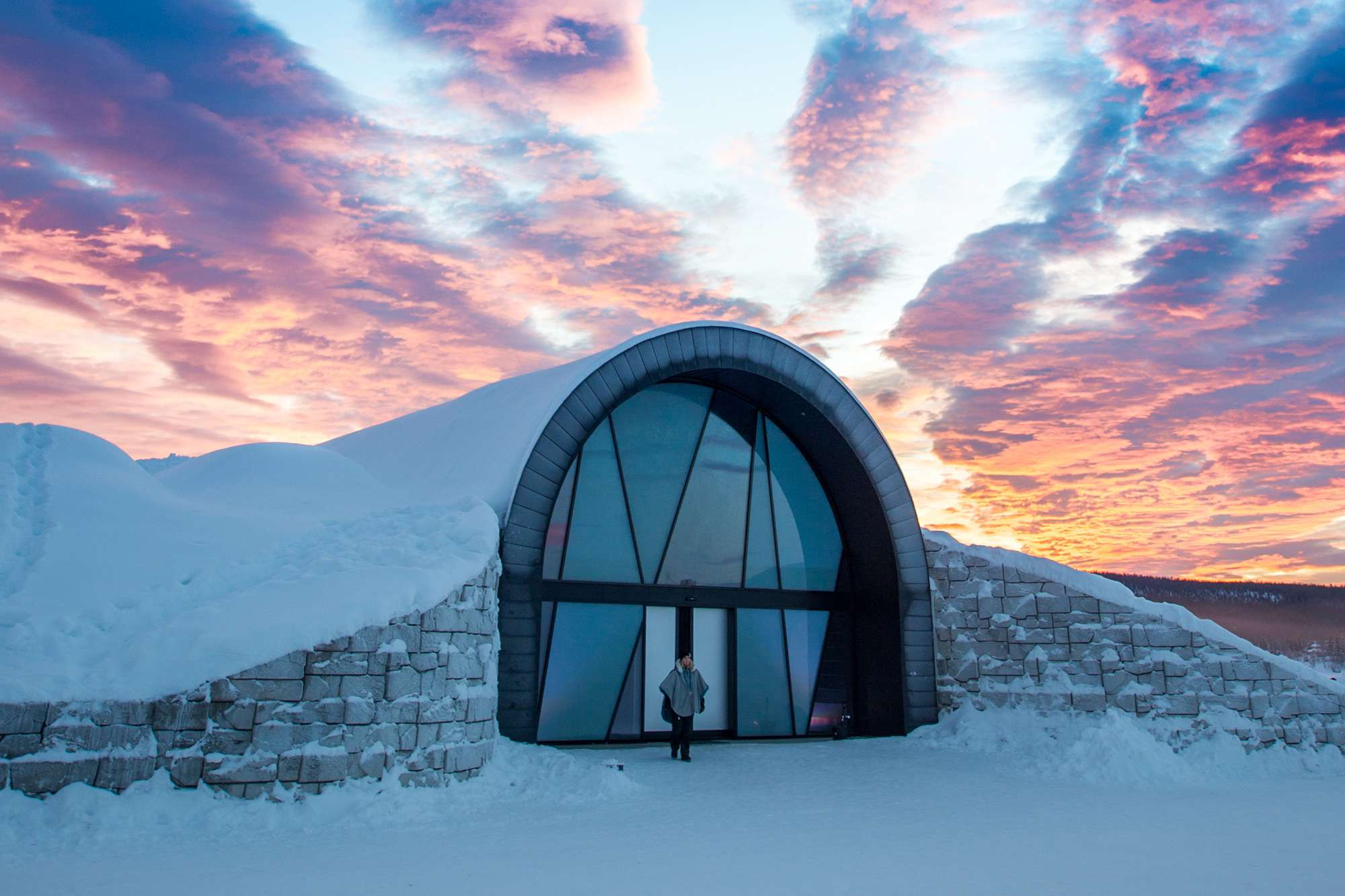 365 icehotel exterior sunset ak