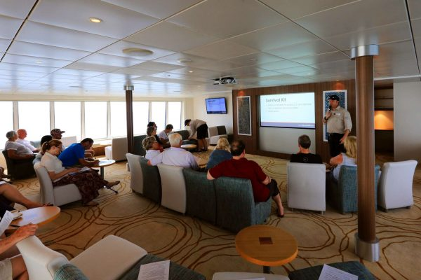 coral discoverer ship lounge presentation