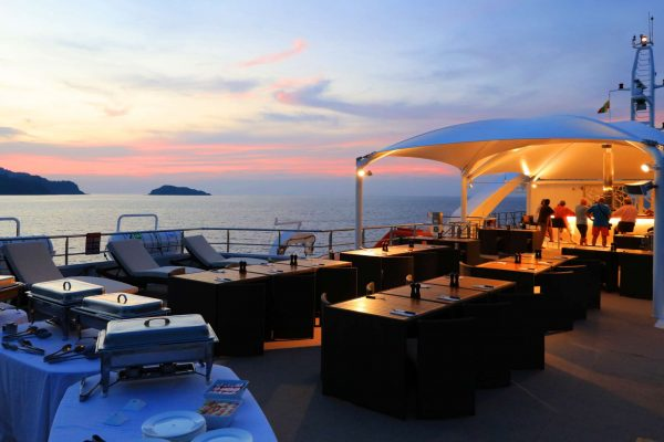 coral discoverer ship sundeck sunset buffet set up