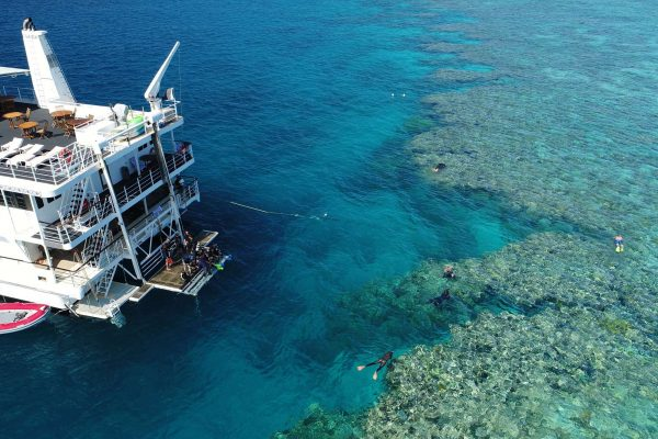 coral expeditions II ship aerial view