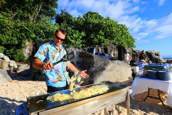 coral expeditions II ship chef beach bbq