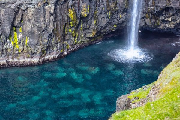 faroe islands vagar mulafossur waterfall detail istk
