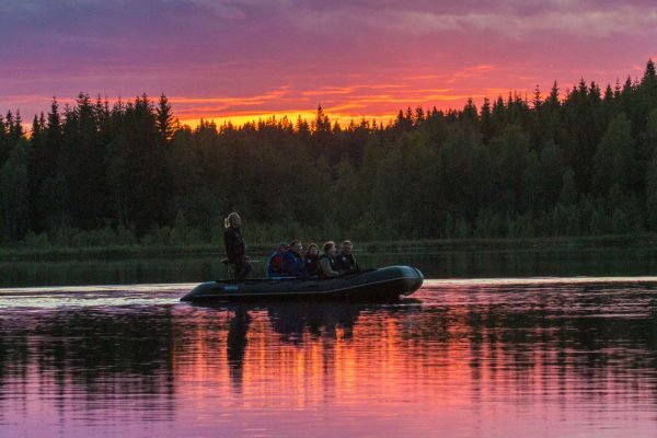 central sweden kolarbyn beaver safari boat sunset