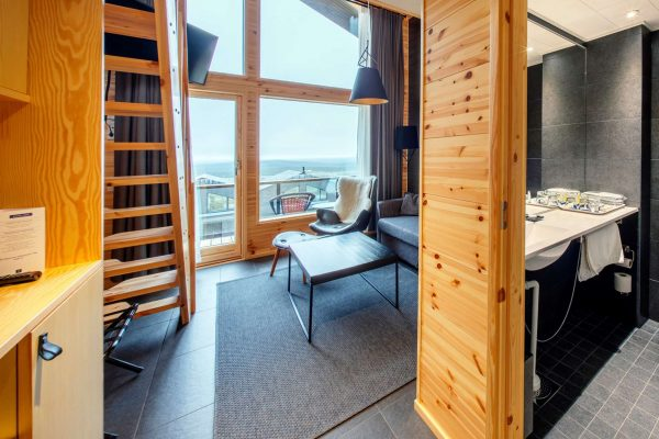 finnish lapland star arctic hotel room view with bathroom
