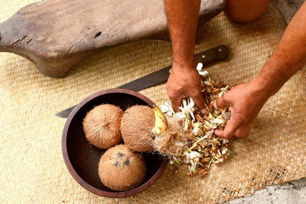 french polynesia working with coconuts tt