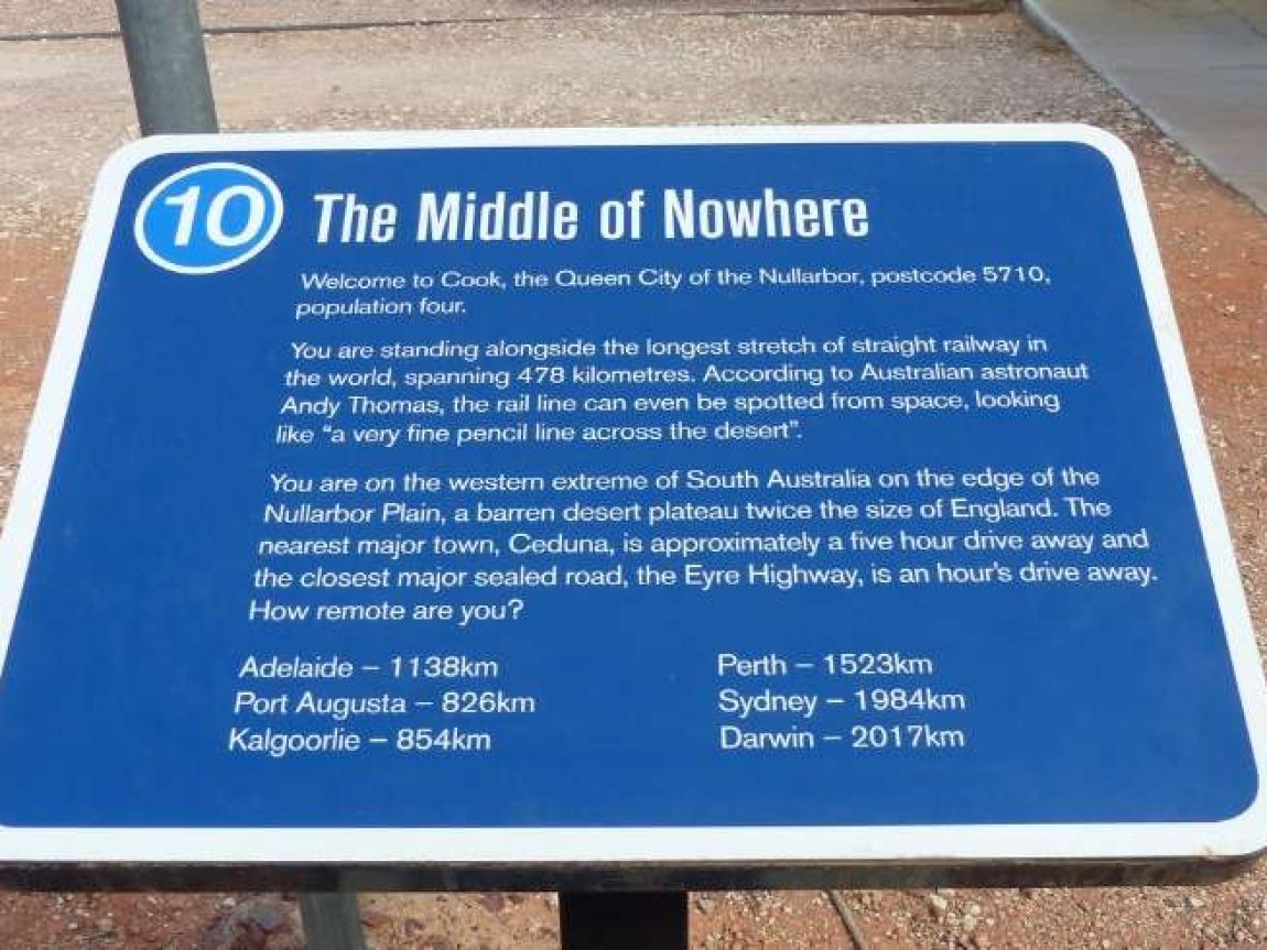 australia middle of nowhere sign indian pacific train liz 1