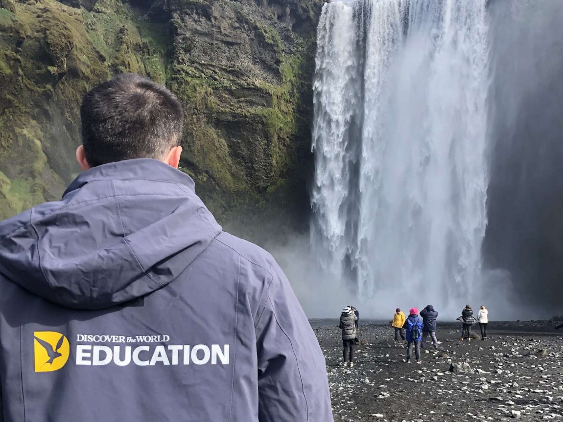 edu iceland team trip skogafoss branded jacket