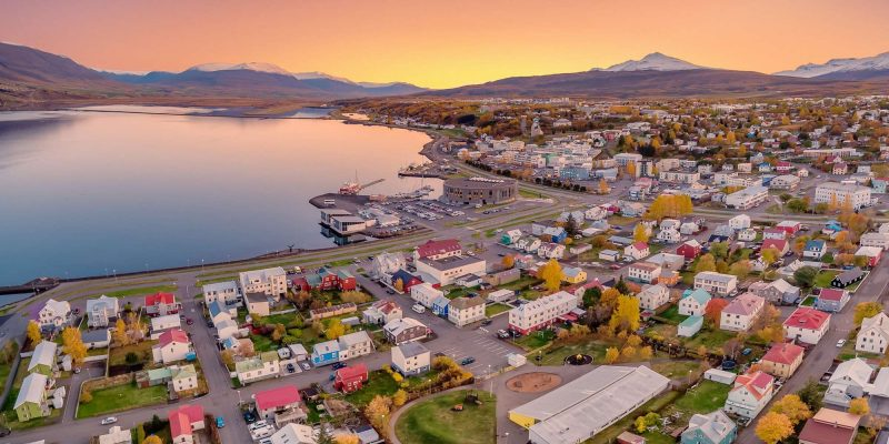 iceland north akureyri drone view rth