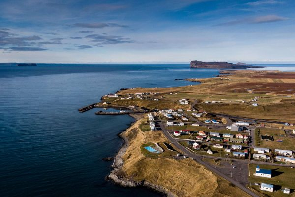 iceland north hofsos town aerial