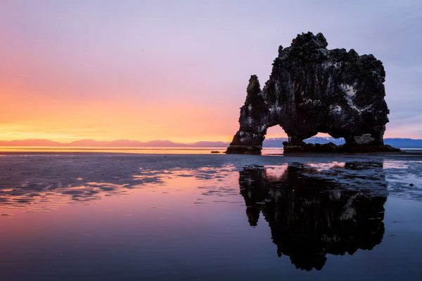 iceland north vatnsnes hvitserkur sunset reflection istk